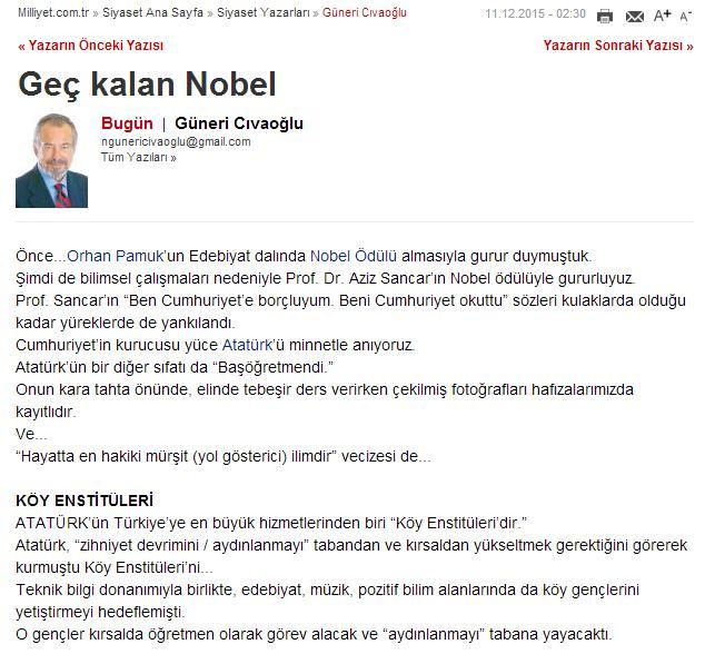 Guneri Civaoglu kose yazisi 11 aralik 2015