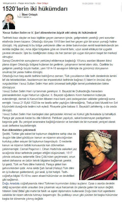 ilber ortayli yavuz sultan selim kupe resim